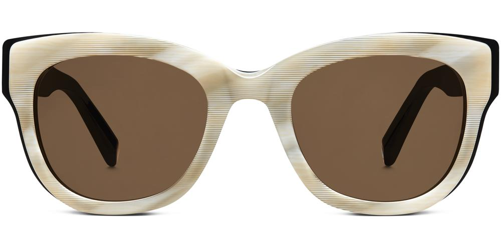 Warby Parker Sunglasses - Bird in Striped Oystershell With Jet Black