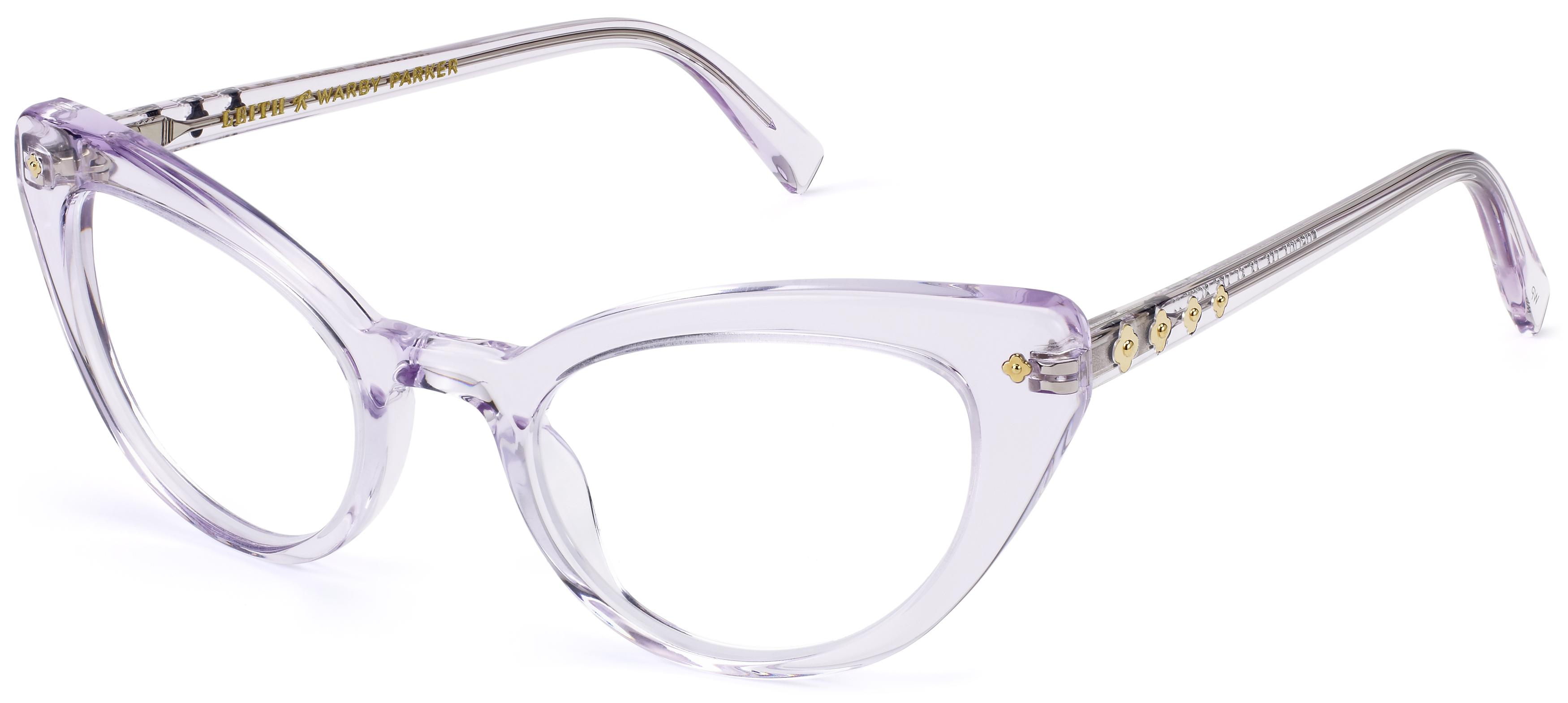 Evelina is a vintage-inspired cat-eye designed by Leith Clark and peppered with floral metalwork at its endpieces and temples.
