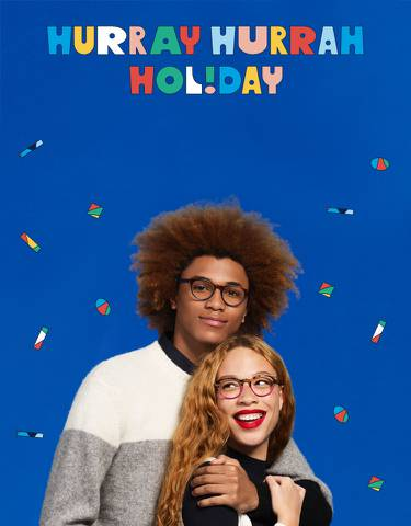 Hurray Hurray Holiday logo with two people sporting Percey frames
